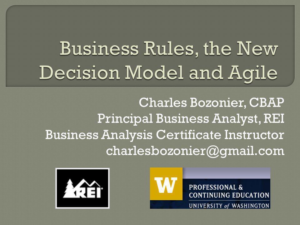 Charles Bozonier, CBAP Principal Business Analyst, REI Business Analysis Certificate Instructor charlesbozonier@gmail.com