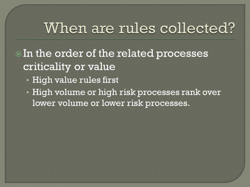  In the order of the related processes criticality or value High value rules first High volume or high risk processes rank over lower volume or lower