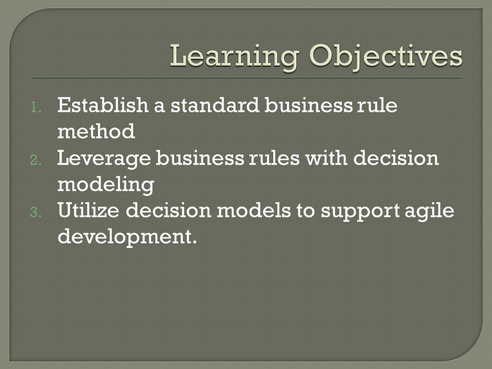 1. Establish a standard business rule method 2. Leverage business rules with decision modeling 3. Utilize decision models to support agile development