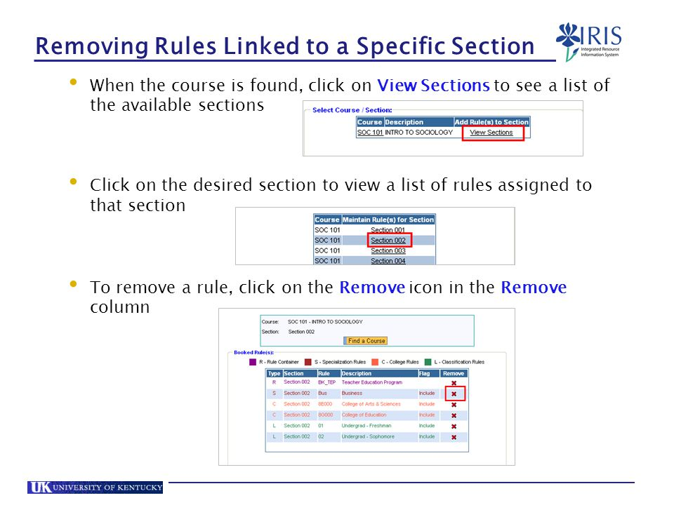 Removing Rules Linked to a Specific Section When the course is found, click on View Sections to see a list of the available sections Click on the desired section to view a list of rules assigned to that section To remove a rule, click on the Remove icon in the Remove column