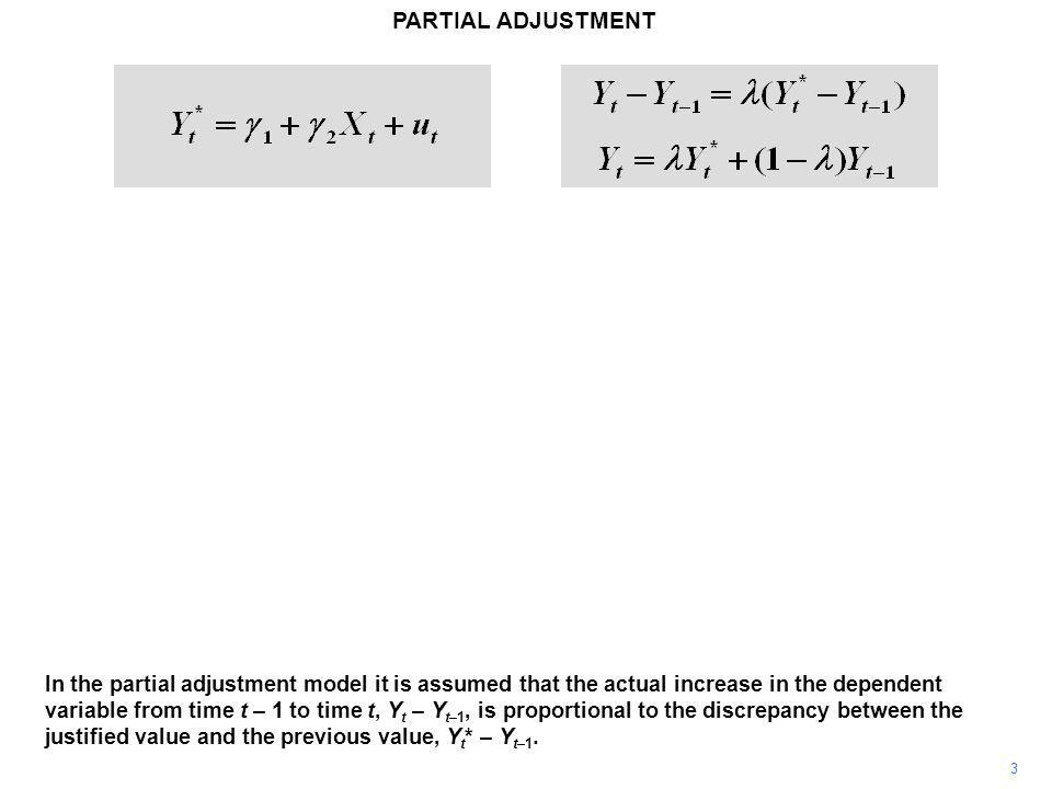 PARTIAL ADJUSTMENT 3 In the partial adjustment model it is assumed that the actual increase in the dependent variable from time t – 1 to time t, Y t – Y t–1, is proportional to the discrepancy between the justified value and the previous value, Y t * – Y t–1.