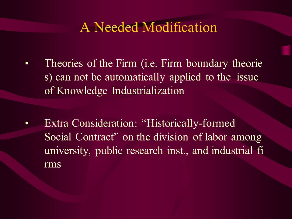 A Needed Modification Theories of the Firm (i.e.