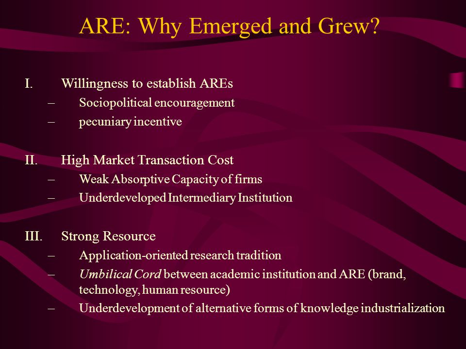 ARE: Why Emerged and Grew.