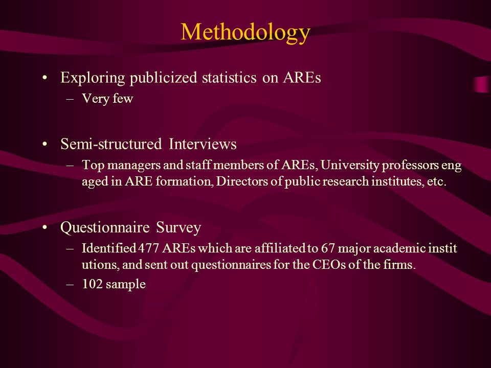 Methodology Exploring publicized statistics on AREs –Very few Semi-structured Interviews –Top managers and staff members of AREs, University professors eng aged in ARE formation, Directors of public research institutes, etc.