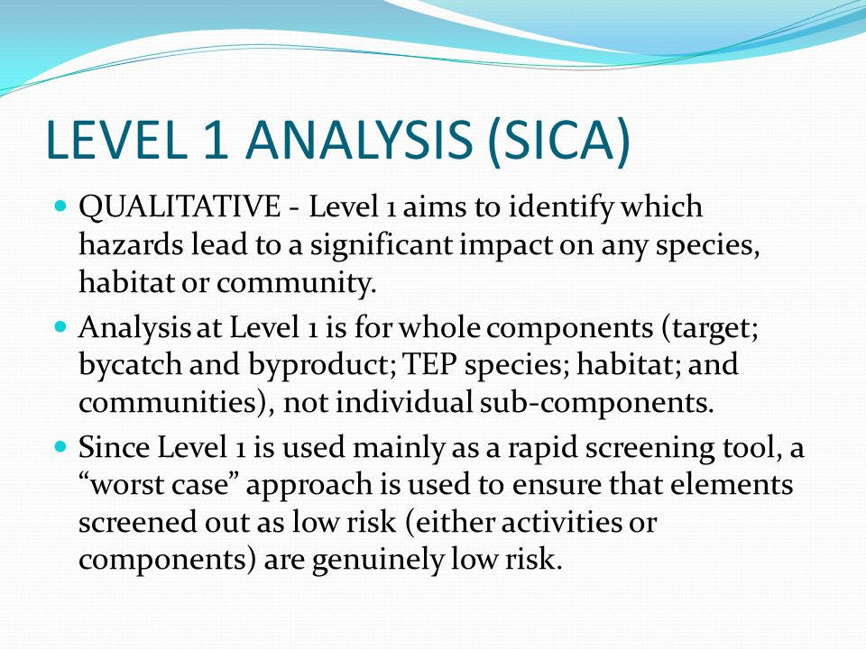 LEVEL 1 ANALYSIS (SICA) QUALITATIVE - Level 1 aims to identify which hazards lead to a significant impact on any species, habitat or community.