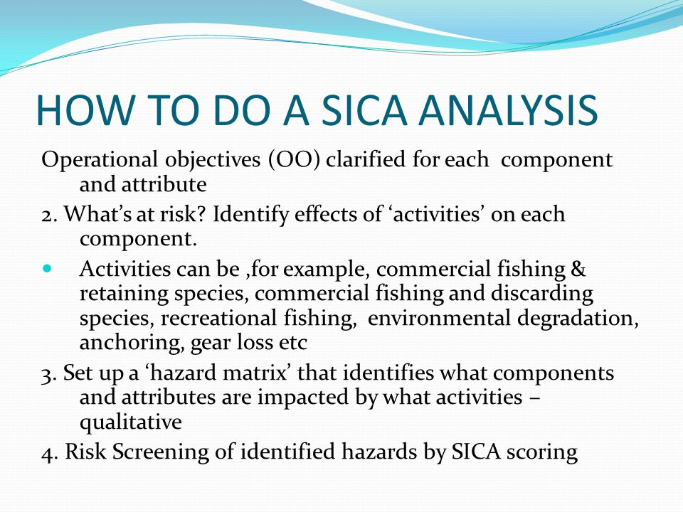 HOW TO DO A SICA ANALYSIS Operational objectives (OO) clarified for each component and attribute 2.