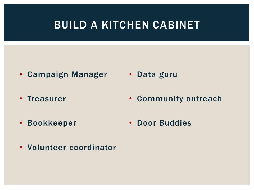 BUILD A KITCHEN CABINET Campaign Manager Treasurer Bookkeeper Volunteer coordinator Data guru Community outreach Door Buddies