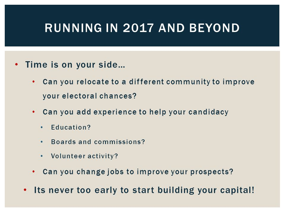 Time is on your side… Can you relocate to a different community to improve your electoral chances.