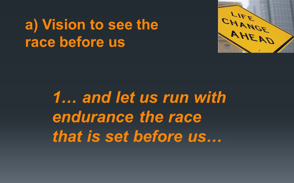a) Vision to see the race before us 1… and let us run with endurance the race that is set before us…