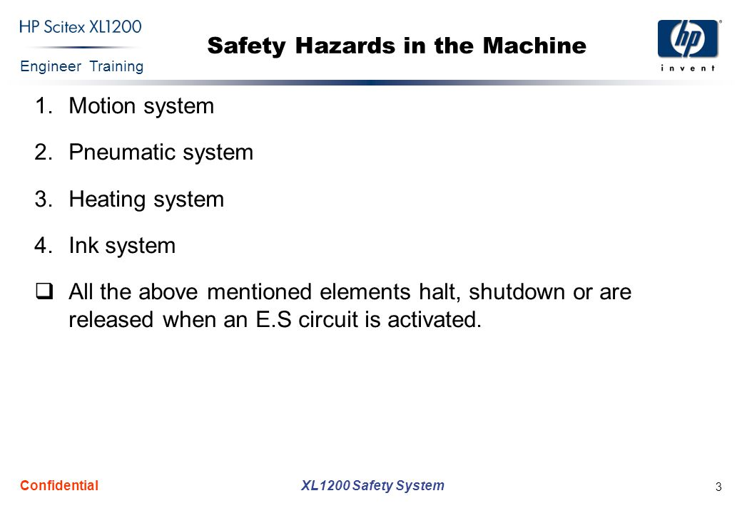 Engineer Training XL1200 Safety System Confidential 3 Safety Hazards in the Machine 1.Motion system 2.Pneumatic system 3.Heating system 4.Ink system  All the above mentioned elements halt, shutdown or are released when an E.S circuit is activated.