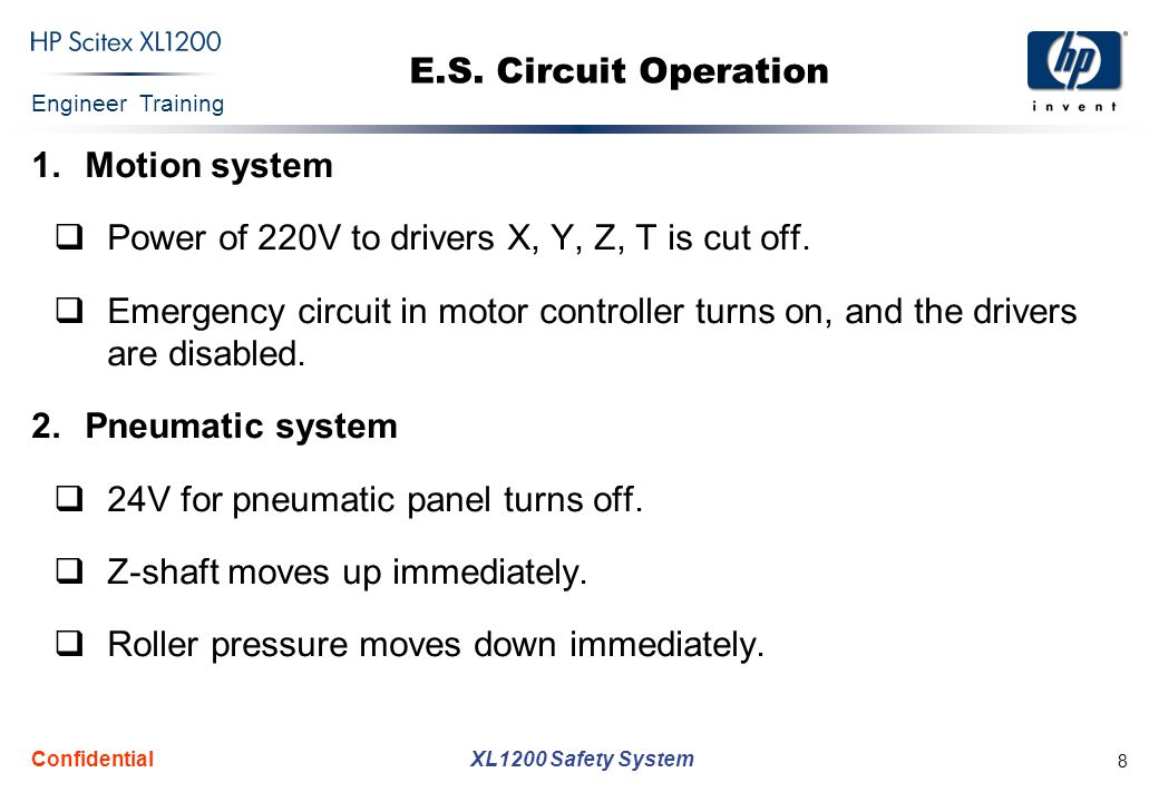 Engineer Training XL1200 Safety System Confidential 8 E.S.