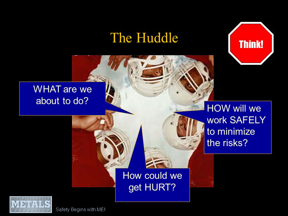 Safety Begins with ME.The Huddle WHAT are we about to do.