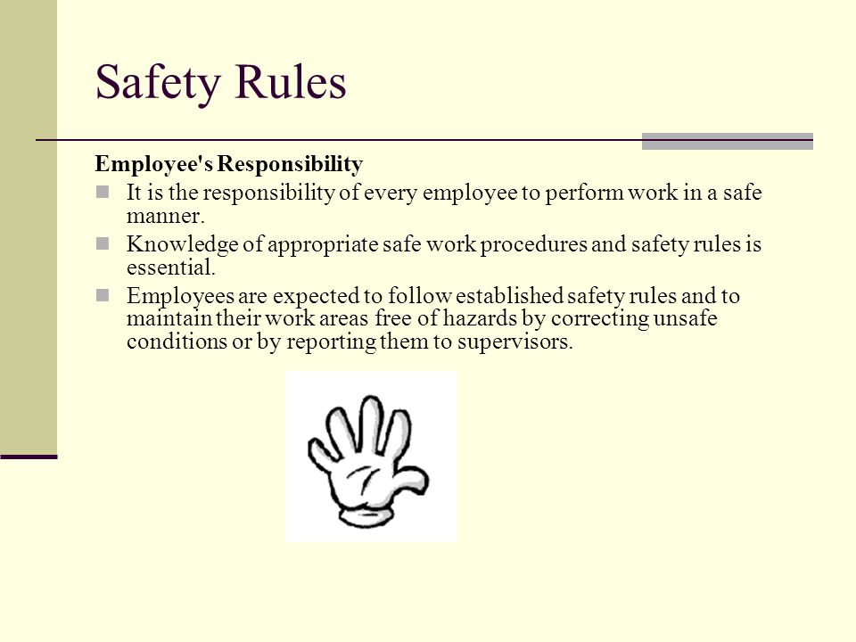 Safety Rules Employee's Responsibility It is the responsibility of every employee to perform work in a safe manner. Knowledge of appropriate safe work