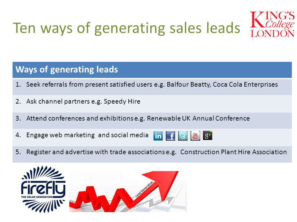 Ten ways of generating sales leads Ways of generating leads 1. Seek referrals from present satisfied users e.g. Balfour Beatty, Coca Cola Enterprises