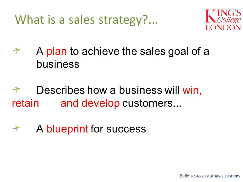 A plan to achieve the sales goal of a business Describes how a business will win, retain and develop customers...