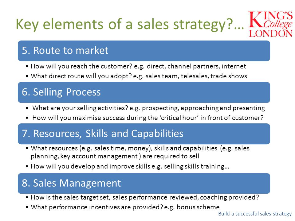 Key elements of a sales strategy?… Build a successful sales strategy 7. Resources, Skills and Capabilities What resources (e.g. sales time, money), sk