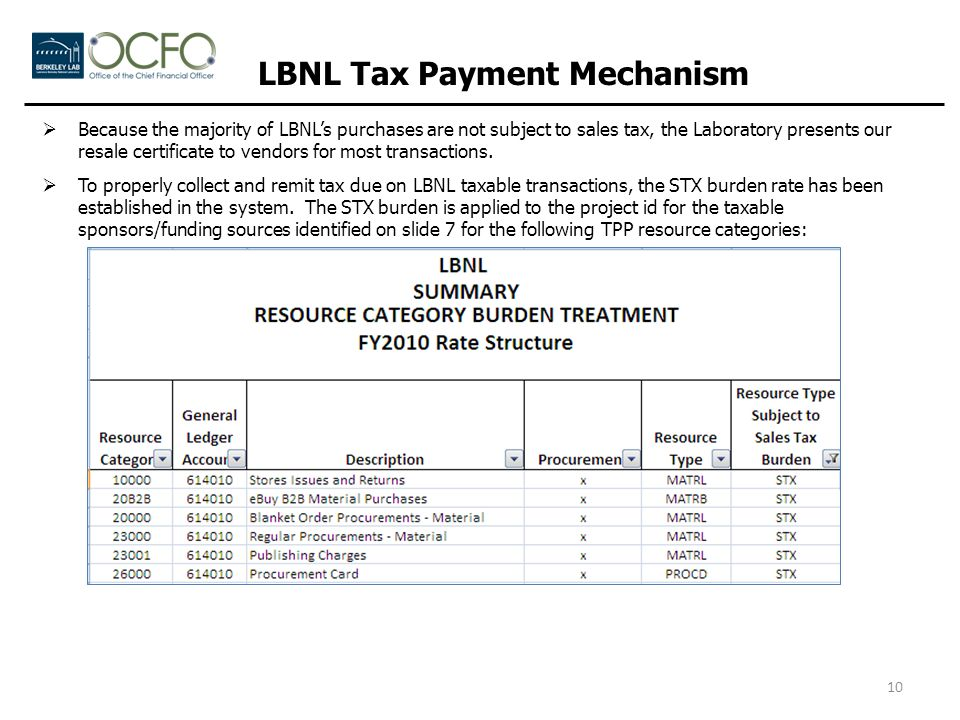 LBNL Tax Payment Mechanism  Because the majority of LBNL's purchases are not subject to sales tax, the Laboratory presents our resale certificate to vendors for most transactions.