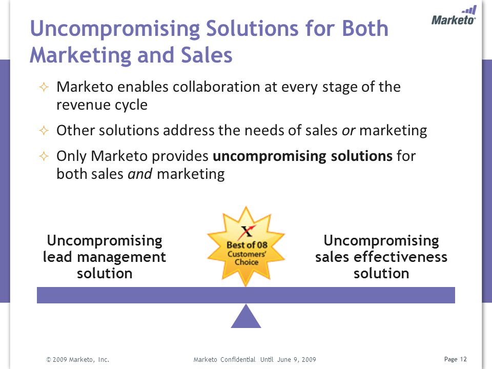 Page 12 Uncompromising Solutions for Both Marketing and Sales © 2009 Marketo, Inc. Marketo Confidential Until June 9, 2009 Uncompromising lead managem