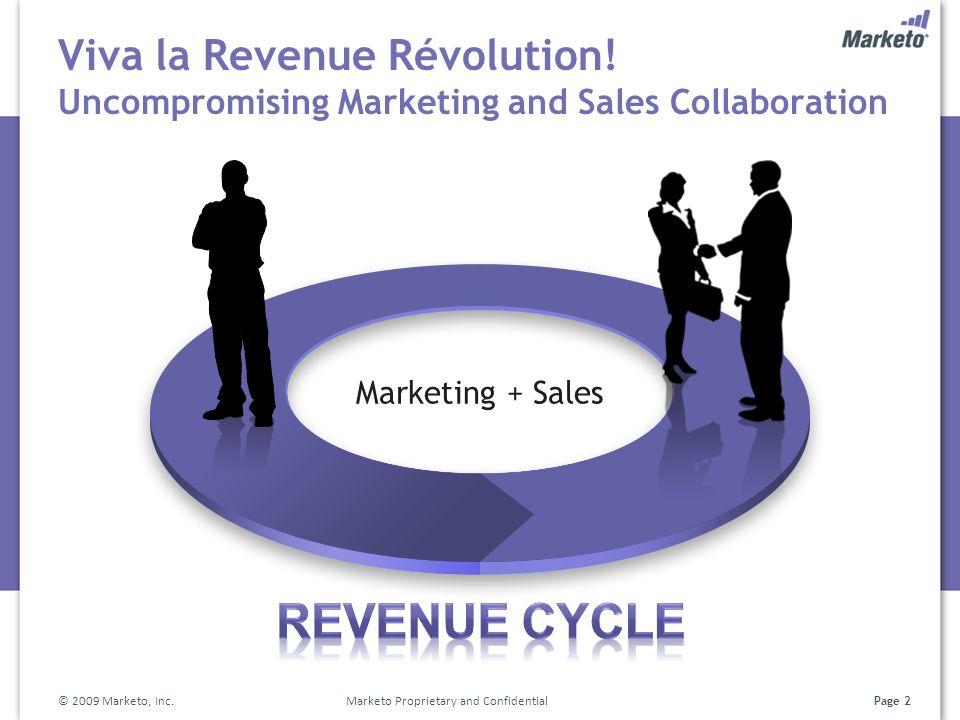 Page 2 Viva la Revenue Révolution! Uncompromising Marketing and Sales Collaboration © 2009 Marketo, Inc. Marketo Proprietary and Confidential Marketin
