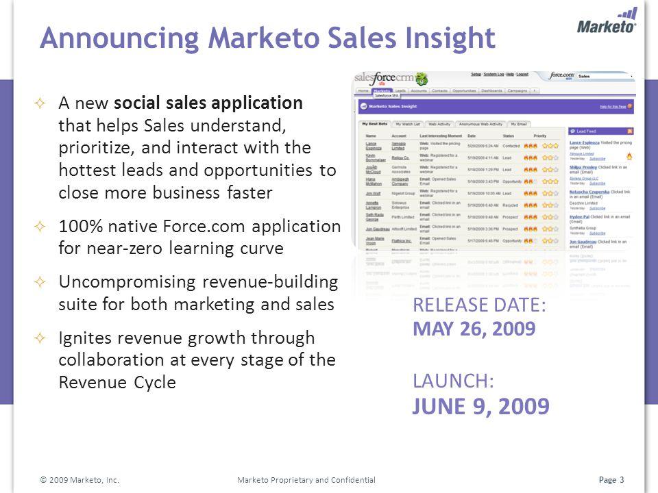 Page 3 Announcing Marketo Sales Insight RELEASE DATE: MAY 26, 2009 LAUNCH: JUNE 9, 2009 © 2009 Marketo, Inc. Marketo Proprietary and Confidential  A