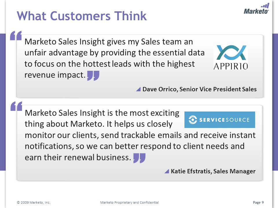 Page 9 What Customers Think © 2009 Marketo, Inc. Marketo Proprietary and Confidential Marketo Sales Insight is the most exciting thing about Marketo.