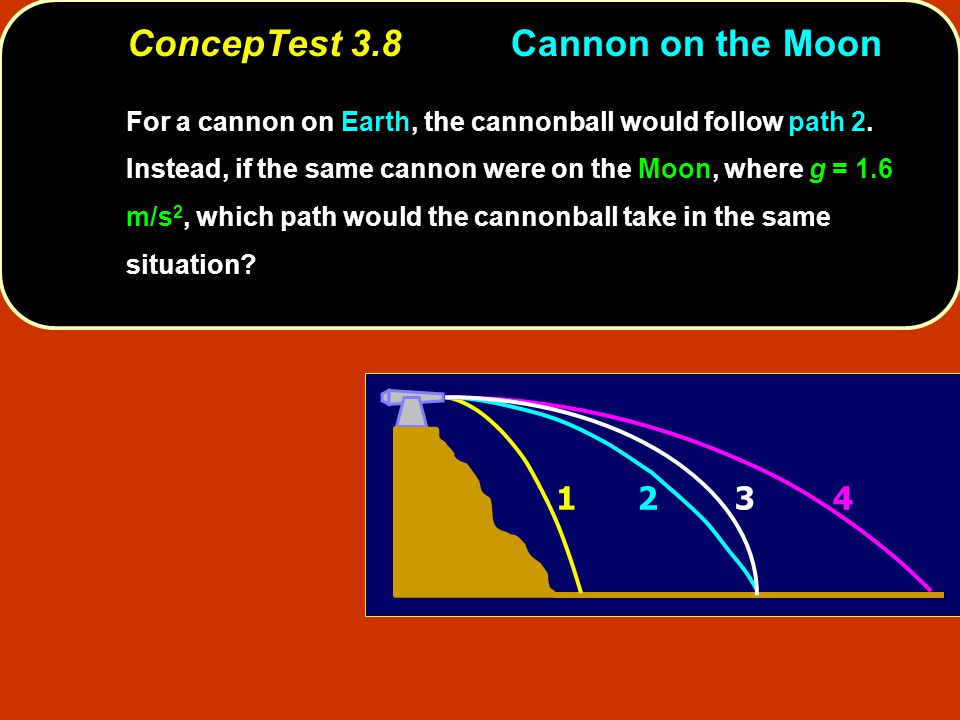 1243 ConcepTest 3.8Cannon on the Moon For a cannon on Earth, the cannonball would follow path 2. Instead, if the same cannon were on the Moon, where g