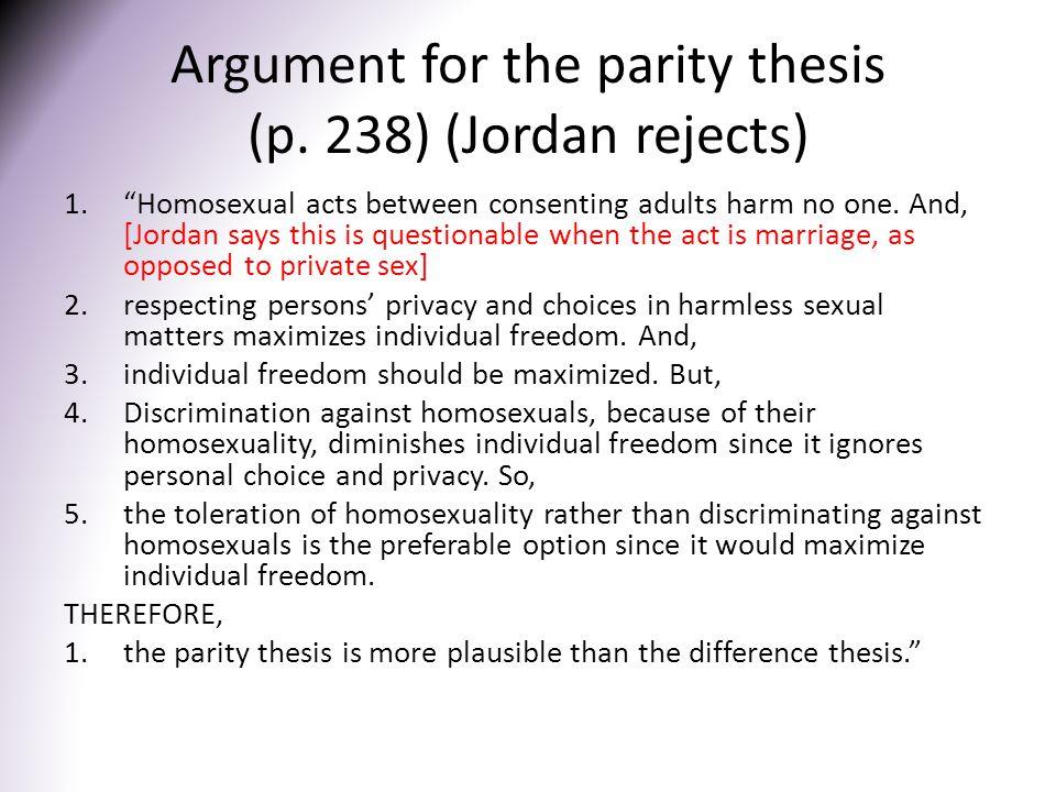 Argument for the parity thesis (p.
