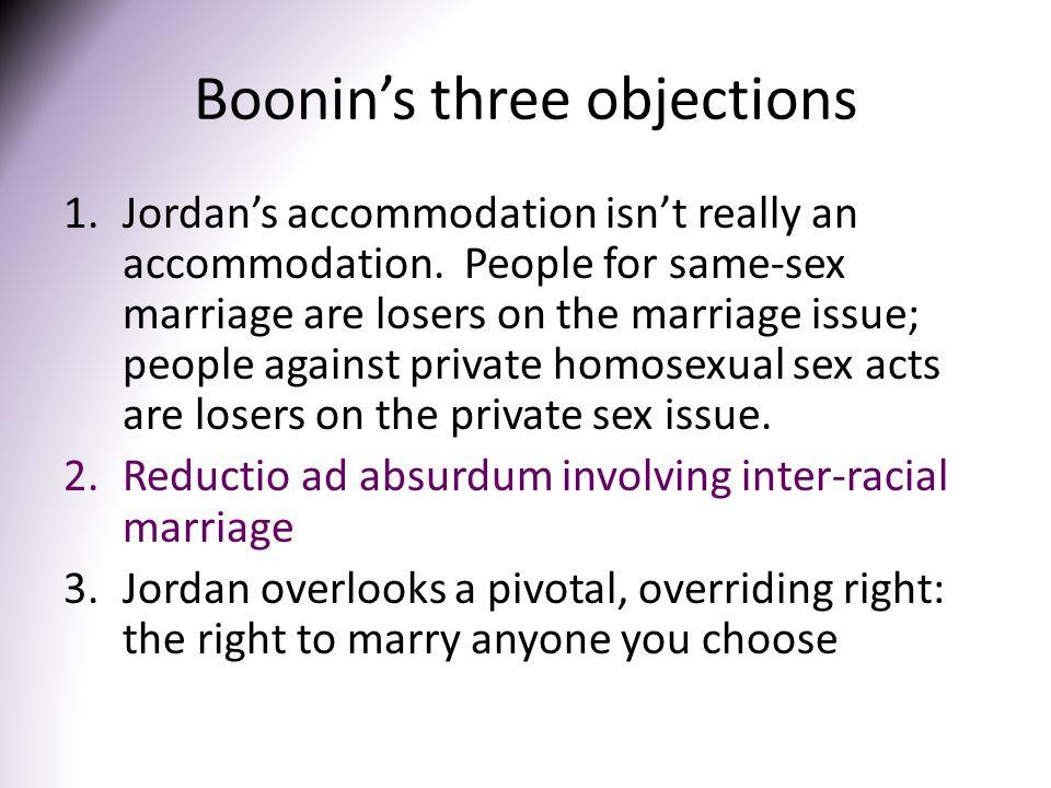 Boonin's three objections 1.Jordan's accommodation isn't really an accommodation.
