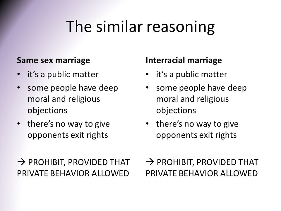 The similar reasoning Same sex marriage it's a public matter some people have deep moral and religious objections there's no way to give opponents exit rights  PROHIBIT, PROVIDED THAT PRIVATE BEHAVIOR ALLOWED Interracial marriage it's a public matter some people have deep moral and religious objections there's no way to give opponents exit rights  PROHIBIT, PROVIDED THAT PRIVATE BEHAVIOR ALLOWED