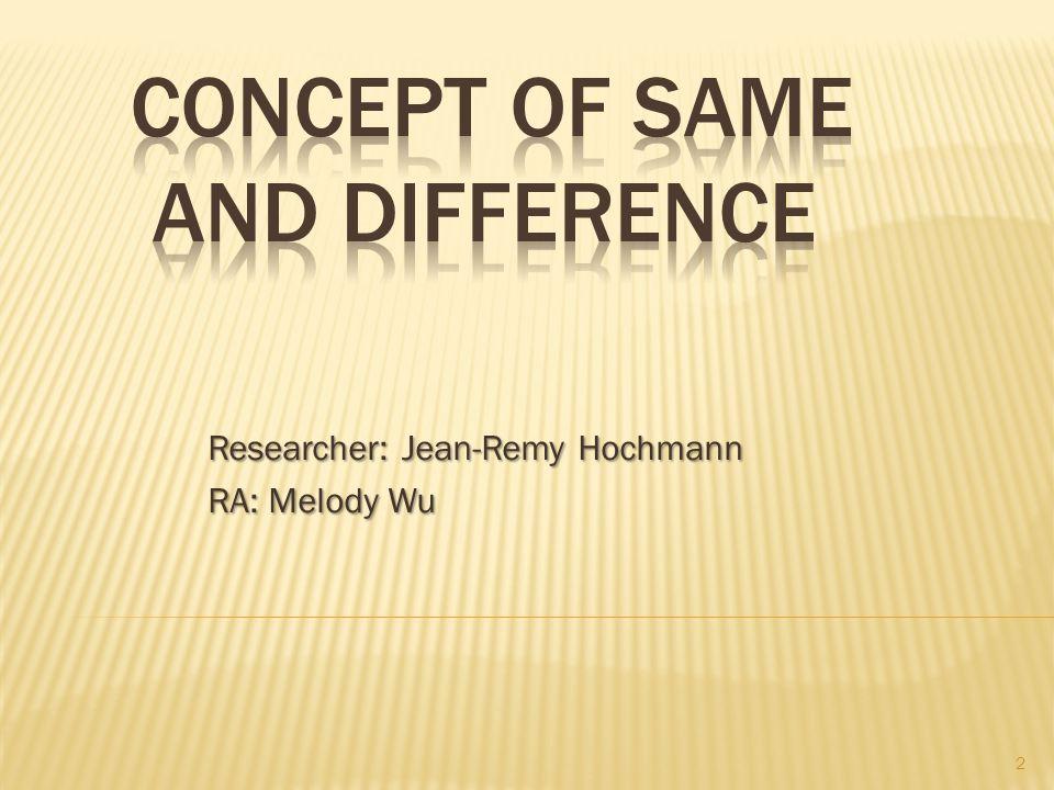 Researcher: Jean-Remy Hochmann RA: Melody Wu 2