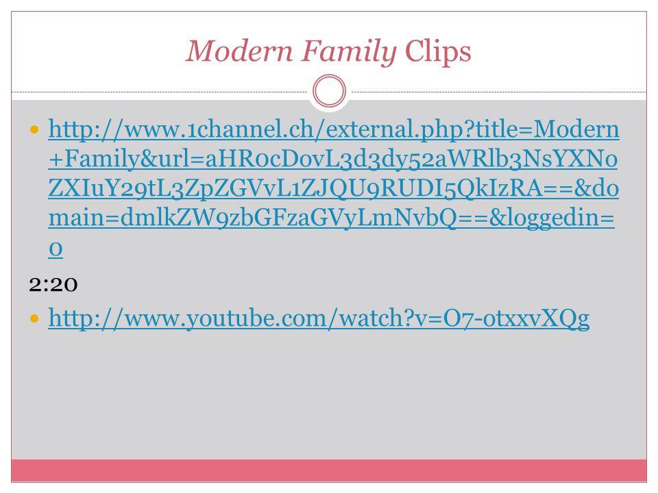 Modern Family Clips http://www.1channel.ch/external.php?title=Modern +Family&url=aHR0cDovL3d3dy52aWRlb3NsYXNo ZXIuY29tL3ZpZGVvL1ZJQU9RUDI5QkIzRA==&do