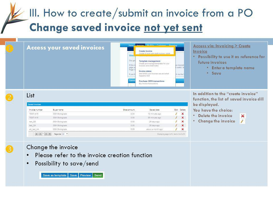 III. How to create/submit an invoice from a PO Change saved invoice not yet sent Access your saved invoices Access via: Invoicing > Create Invoice Pos