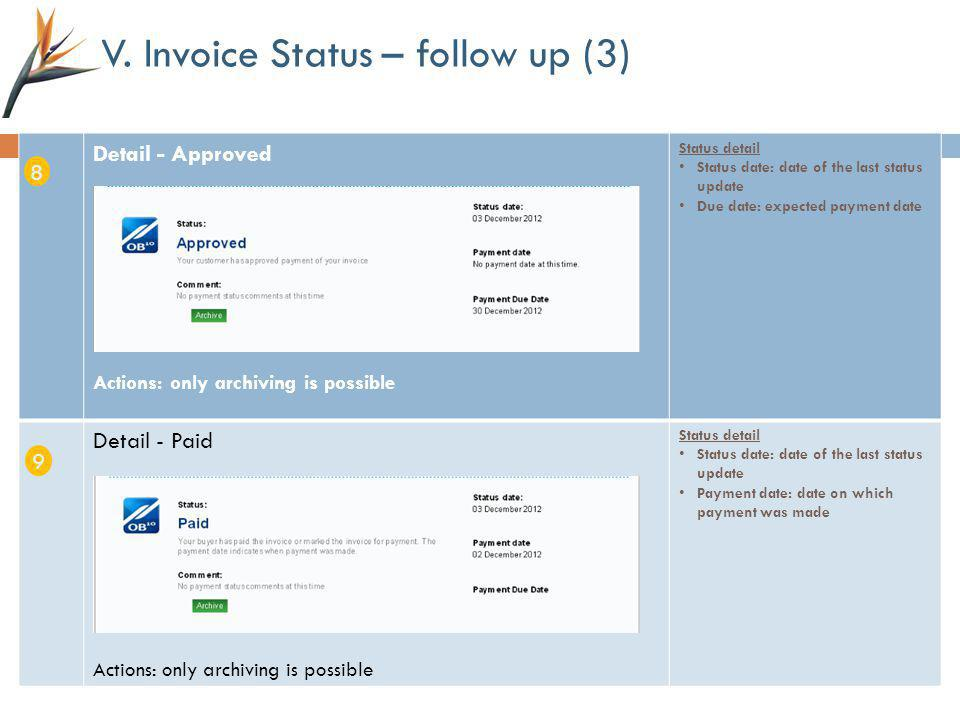 V. Invoice Status – follow up (3) Detail - Approved Actions: only archiving is possible Status detail Status date: date of the last status update Due