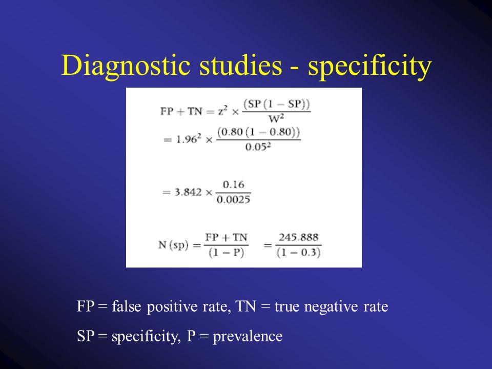 Diagnostic studies - specificity FP = false positive rate, TN = true negative rate SP = specificity, P = prevalence