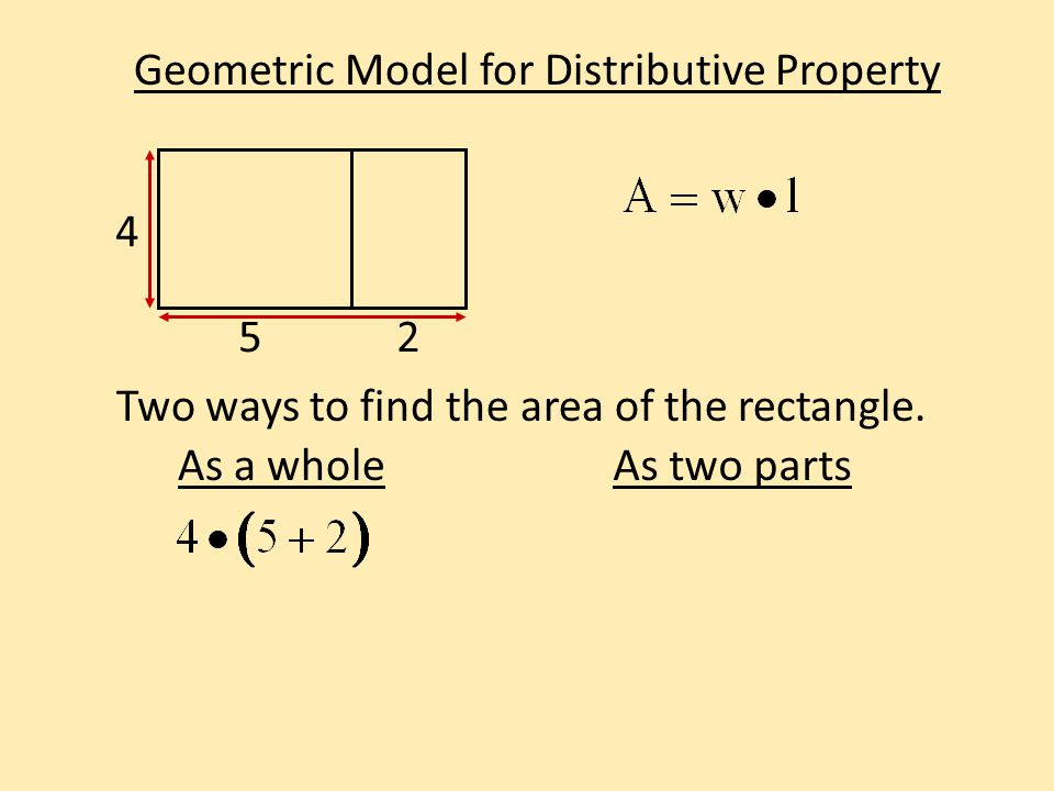Geometric Model for Distributive Property Two ways to find the area of the rectangle. 4 52 As a wholeAs two parts