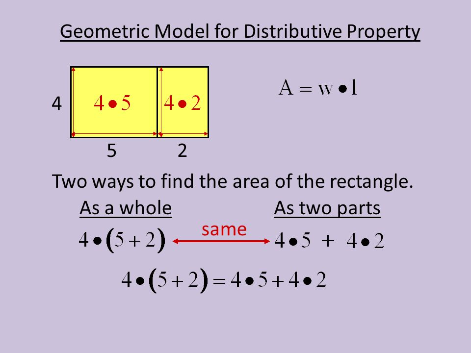 Geometric Model for Distributive Property Two ways to find the area of the rectangle. 4 52 As a wholeAs two parts same