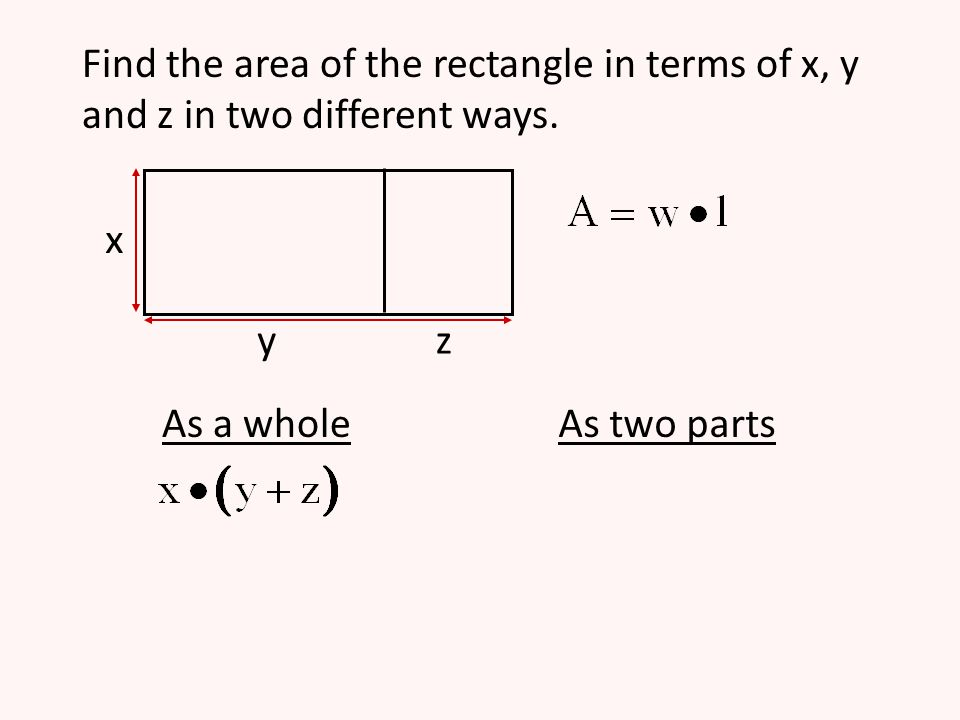 Find the area of the rectangle in terms of x, y and z in two different ways. x yz As a wholeAs two parts