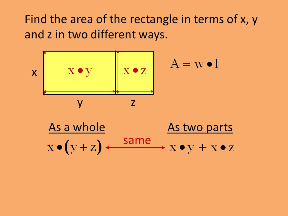 Find the area of the rectangle in terms of x, y and z in two different ways.