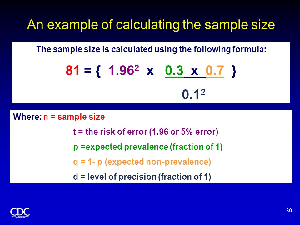 20 An example of calculating the sample size  The sample size is calculated using the following formula: 81 = { 1.96 2 x 0.3 x 0.7 } 0.1 2 Where:n = sample size t = the risk of error (1.96 or 5% error) p =expected prevalence (fraction of 1) q = 1- p (expected non-prevalence) d = level of precision (fraction of 1)