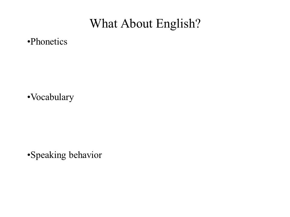 What About English Phonetics Vocabulary Speaking behavior
