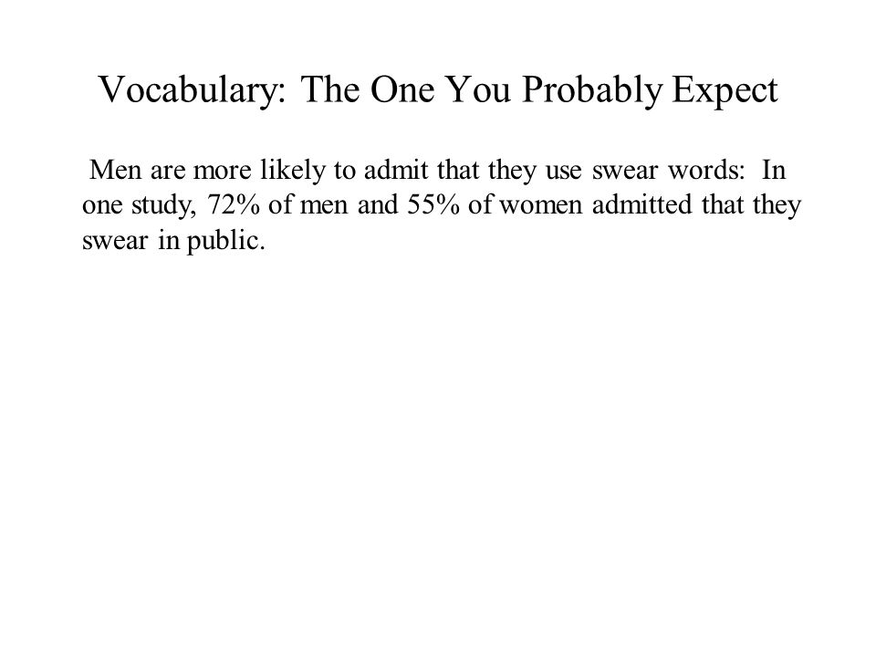 Vocabulary: The One You Probably Expect Men are more likely to admit that they use swear words: In one study, 72% of men and 55% of women admitted that they swear in public.