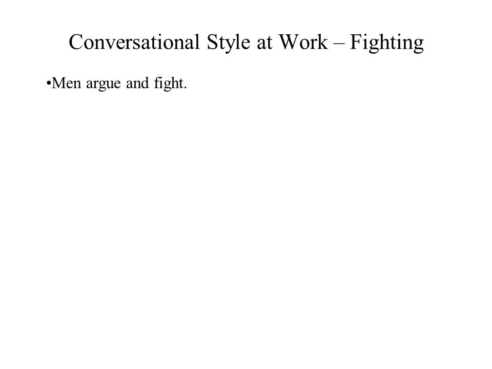 Conversational Style at Work – Fighting Men argue and fight.