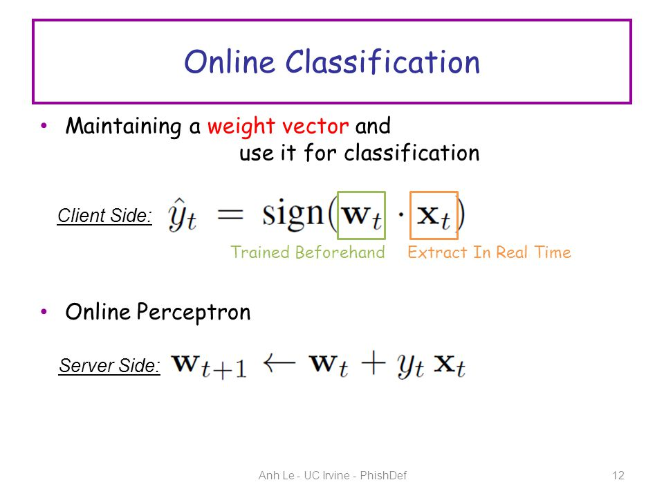 Online Classification Anh Le - UC Irvine - PhishDef12 Maintaining a weight vector and use it for classification Online Perceptron Trained Beforehand Extract In Real Time Client Side: Server Side: