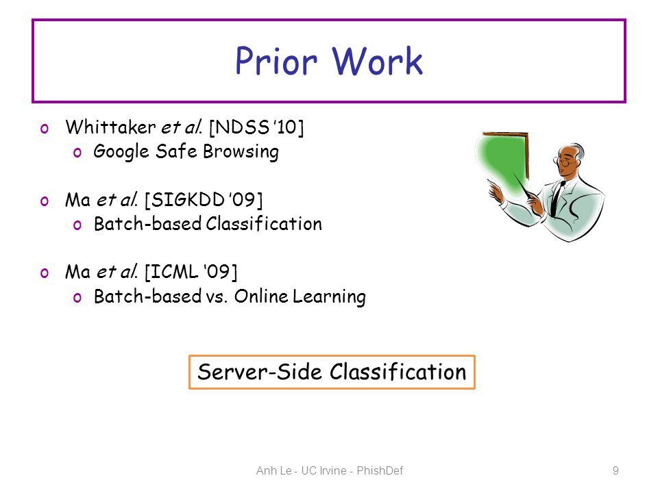Prior Work oWhittaker et al.[NDSS '10] oGoogle Safe Browsing oMa et al.