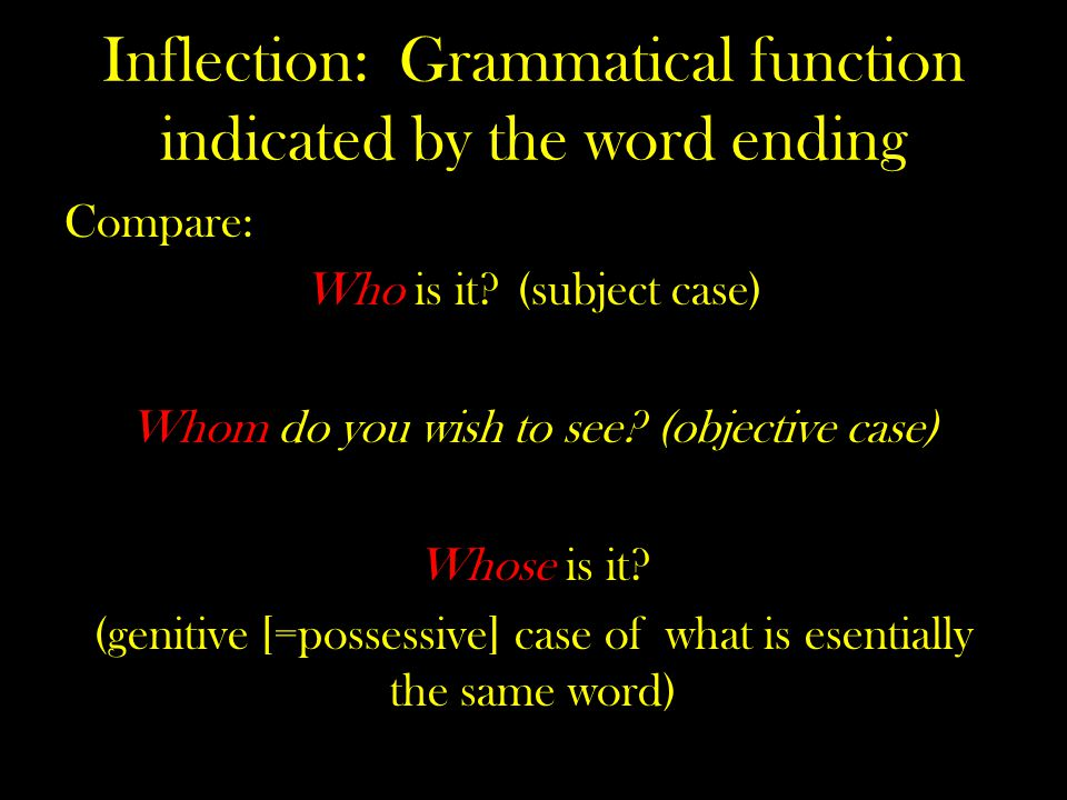 Inflection: Grammatical function indicated by the word ending Compare: Who is it.
