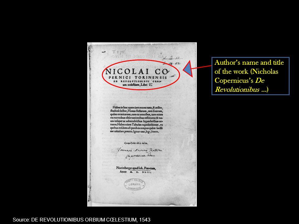Author's name and title of the work (Nicholas Copernicus's De Revolutionibus …) Source: DE REVOLUTIONIBUS ORBIUM CŒLESTIUM, 1543