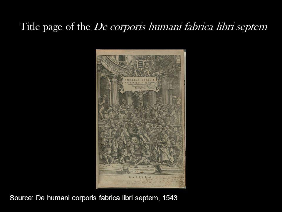 Title page of the De corporis humani fabrica libri septem Source: De humani corporis fabrica libri septem, 1543