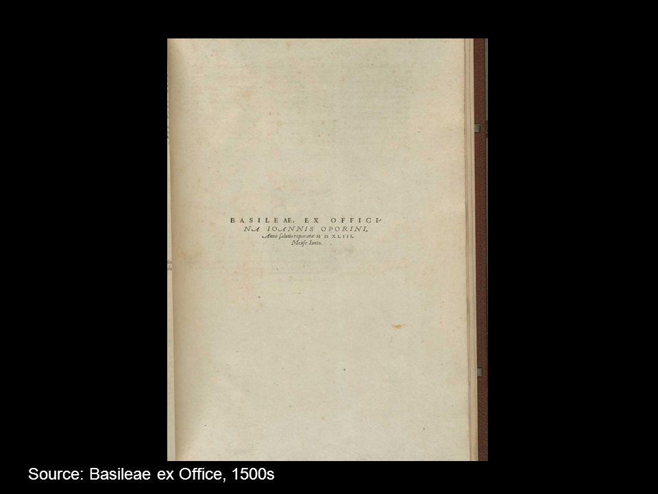 Source: Basileae ex Office, 1500s