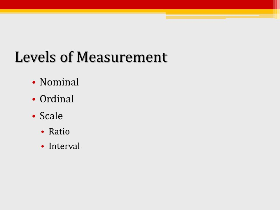 Levels of Measurement Nominal Ordinal Scale Ratio Interval