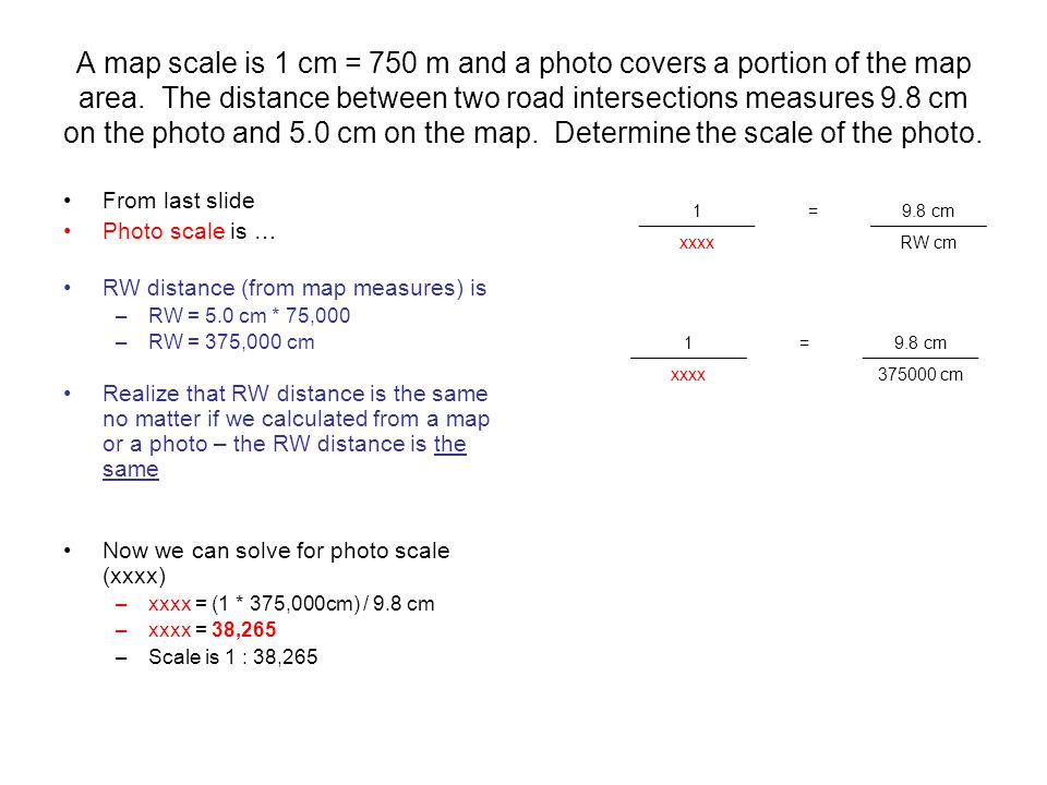 A map scale is 1 cm = 750 m and a photo covers a portion of the map area.